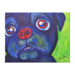 "Pug Art  ""Pugsly Enthusiasm"" Stretched Canvas Print"