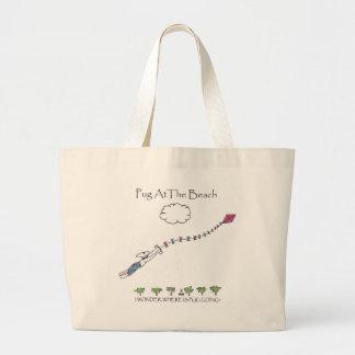 Pug At The Beach Tote Bags