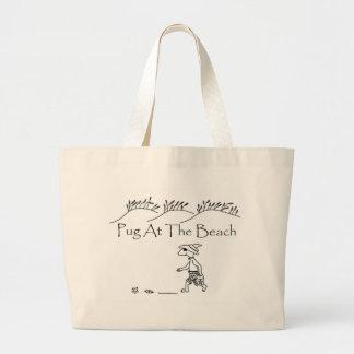 Pug At The Beach Large Tote Bag