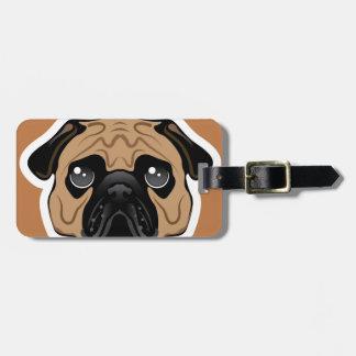 Pug Avatar Face Vector Bag Tag