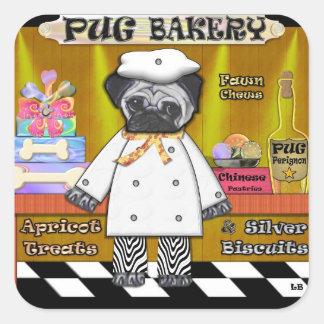 Pug Bakery Square Sticker