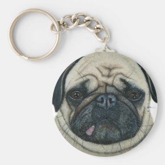 Pug Basic Round Button Keychain