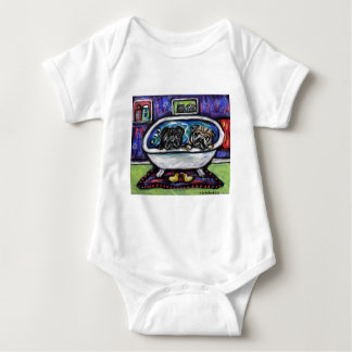 Pug Bathtime Baby Bodysuit