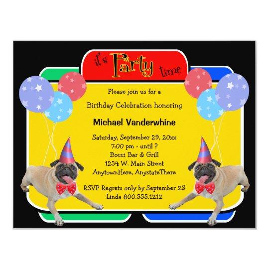 Pug Birthday Barker Card