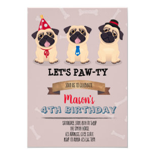 Pug Birthday Invitations Zazzle