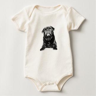 Pug - Black PUG  Black & White Baby Bodysuit