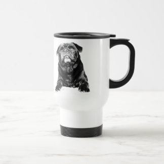 Pug - Black PUG  Black & White Travel Mug