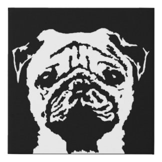 Pug Black & White Faux Wrapped Canvas Wall Art