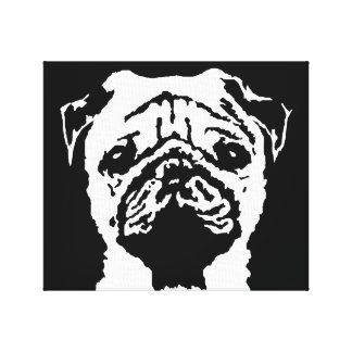 Pug Black & White Wrapped Canvas Print Wall Art