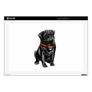 Pug - Black with red collar and heart tag Laptop Decal