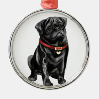 Pug - Black with red collar and heart tag Metal Ornament