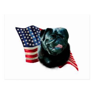 Pug (blk) Flag Postcard