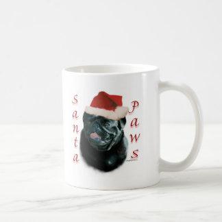 Pug (blk) Santa Paws Classic White Coffee Mug