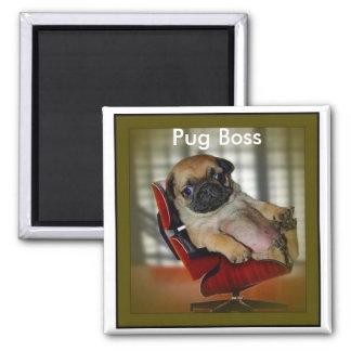 Pug Boss 2 Inch Square Magnet