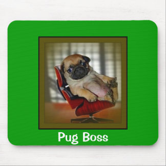 Pug Boss Mouse Pad