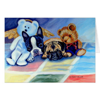 Pug & Boston Terrier Pups Cards