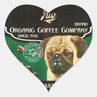 Pug Brand – Organic Coffee Company Heart Sticker