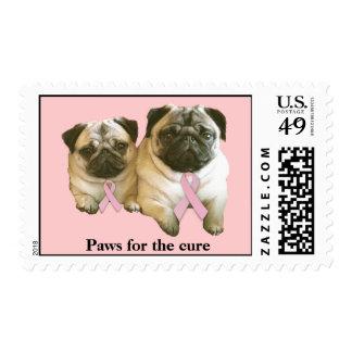 Pug  Breast Cancer Postage Stamp