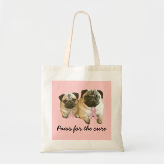 Pug  Breast Cancer Tote Bag