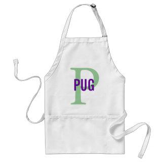 Pug Breed Monogram Design Adult Apron