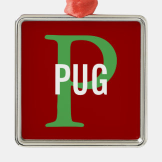 Pug Breed Monogram Design Metal Ornament