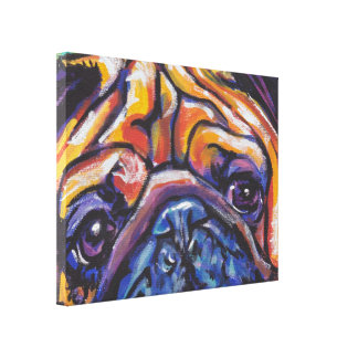 Pug Bright Colorful Pop Dog Art Canvas Print