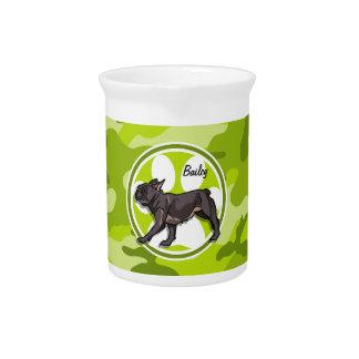 Pug; bright green camo, camouflage beverage pitcher