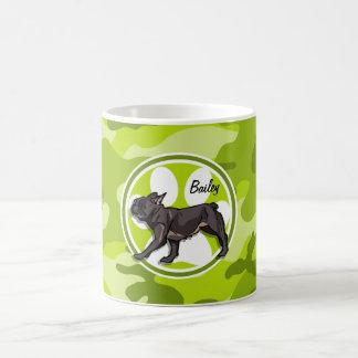 Pug; bright green camo, camouflage classic white coffee mug