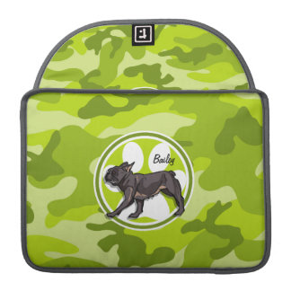 Pug; bright green camo, camouflage MacBook pro sleeves