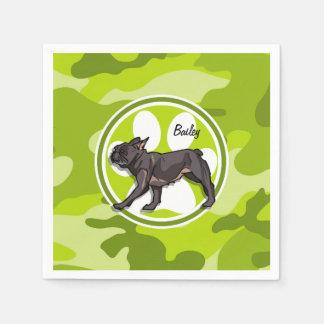 Pug; bright green camo, camouflage disposable napkin