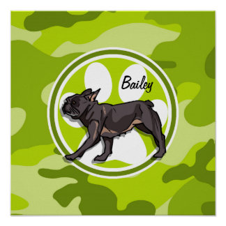 Pug; bright green camo, camouflage posters