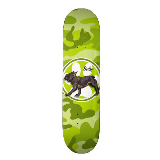 Pug; bright green camo, camouflage skateboard deck
