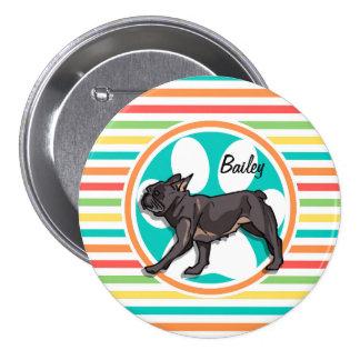 Pug; Bright Rainbow Stripes Pinback Buttons
