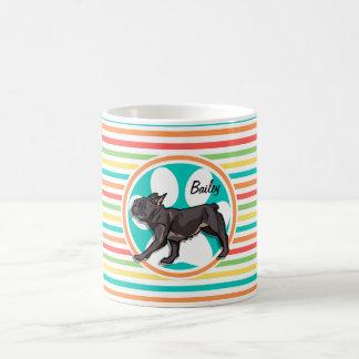 Pug; Bright Rainbow Stripes Classic White Coffee Mug