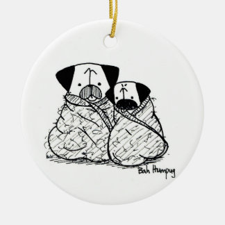 Pug Bundles/Burritos Ceramic Ornament