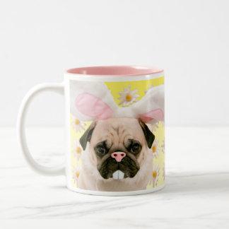Pug Bunny Ears Two-Tone Coffee Mug