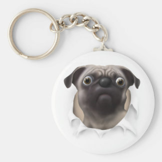 Pug Busting Out Keychain