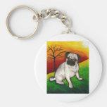 Pug Buttercup Basic Round Button Keychain