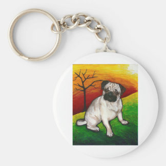 Pug Buttercup Basic Round Button Keychain