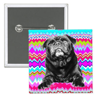 PUG BUTTON- Black PUG-  Pink, Aqua & White RAD ZAG Pinback Button