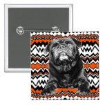 PUG BUTTON Orange, Black & White RAD ZAG