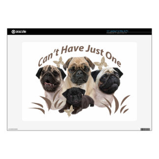 """Pug Can't Have Just One Apparel and Gifts 15"""" Laptop Decals"""