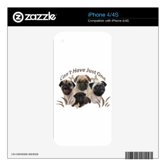 Pug Can't Have Just One Apparel and Gifts iPhone 4 Decal