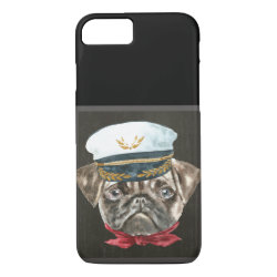 f2c074579bb Pug Captain Hat Red Scarf Dogs In Clothes iPhone 8 7 Case