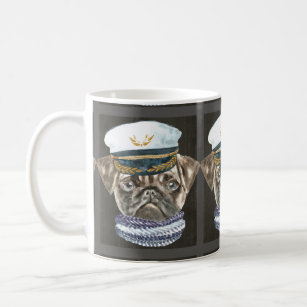 2d60694b0db Pug Captain Hat Scarf Dogs In Clothes Coffee Mug