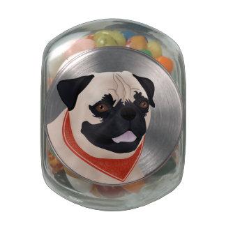 Pug Cartoon Glass Jar