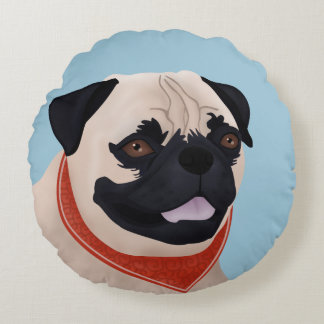 Pug Cartoon Round Pillow