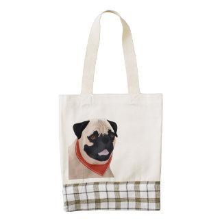 Pug Cartoon Zazzle HEART Tote Bag