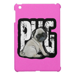 Case Savvy iPad Mini Glossy Finish Case with Pug Phone Cases design
