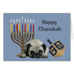 Pug Chanukah Card Menorah Dreidel<br><div class='desc'>Remembering family and friends during the Chanukah season is a wonderful way to keep in touch with the people you love and care about. I created these dog Chanukah cards with love and care and I am sure anyone who loves dogs will be delighted to receive them. You do have...</div>